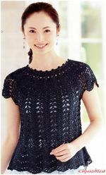 Платье с круглой кокеткой вязаное крючком