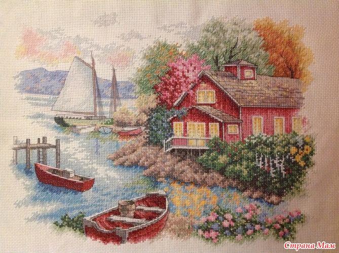 Схемы вышивки домик у озера