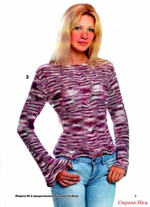 Вязание спицами джемпер женский из меланжевой пряжи