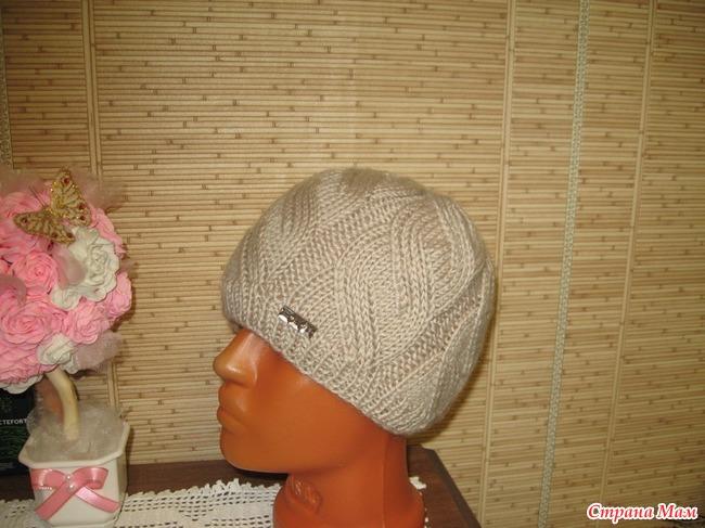 шапочка с узором косы схема