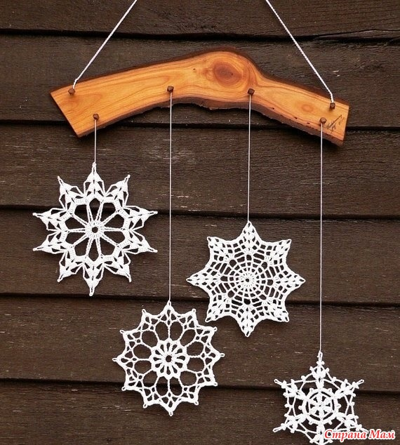 Как сделать вязанную снежинку