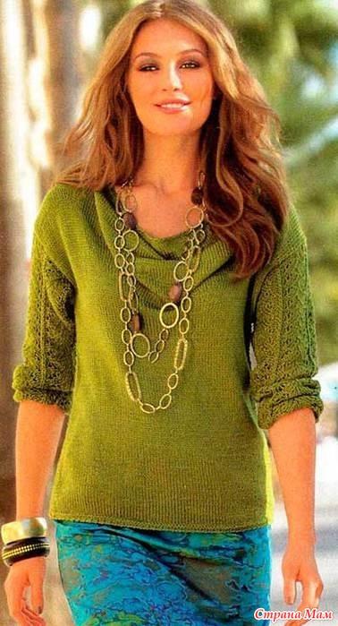 Пуловер с воротником каскад