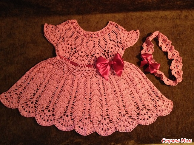 Вяжем крючком платье для девочек до 3 лет