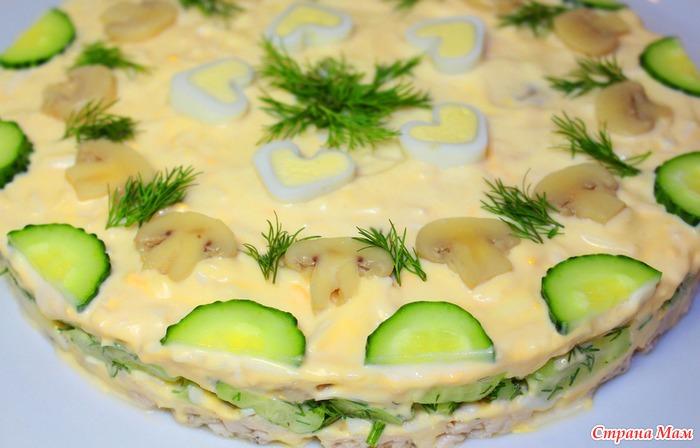 Украшение салатов фото приготовление видео