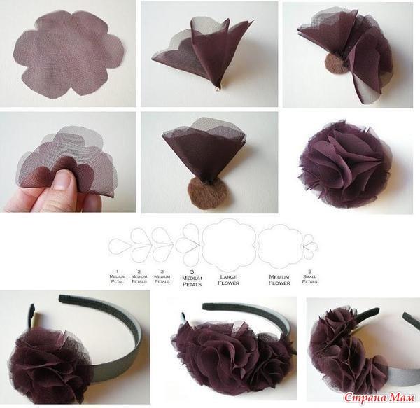 Как сделать на ободок цветок