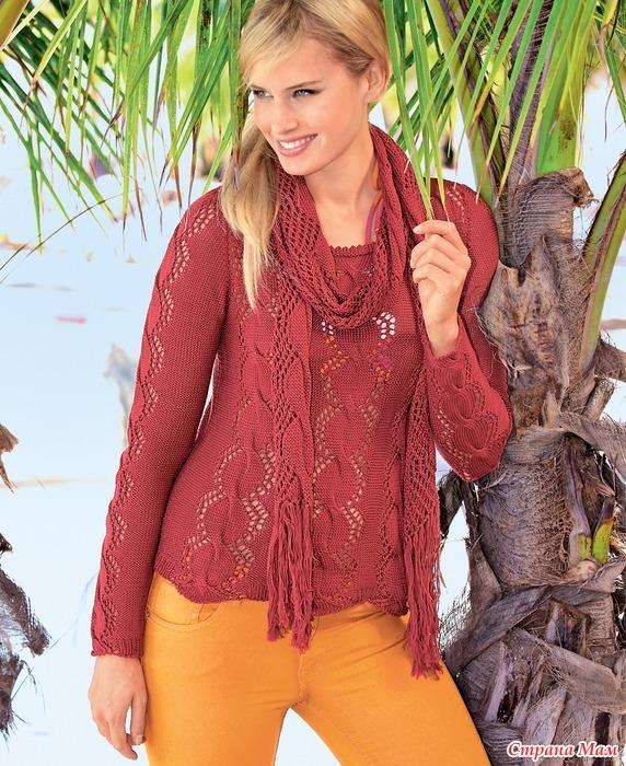 вязание спицами ажурный шарф
