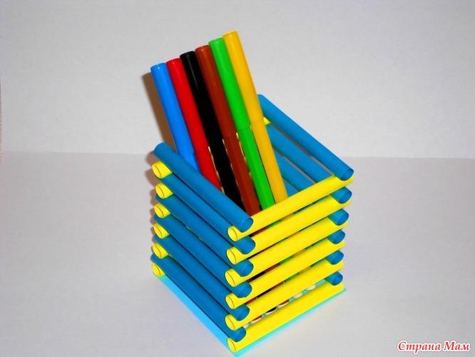 Подставка под карандаши из бумаги своими руками