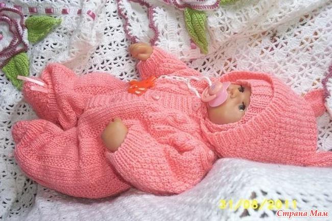 Вязание спицами для новорожденных костюмчика