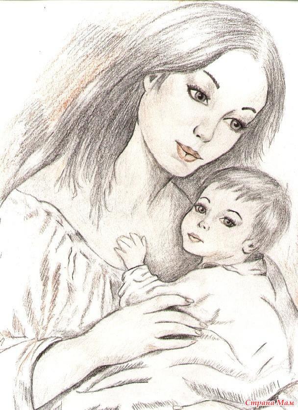 Картинки на день матери рисовать карандашом