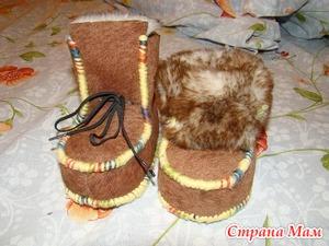 Зимние пинетки-валеночки