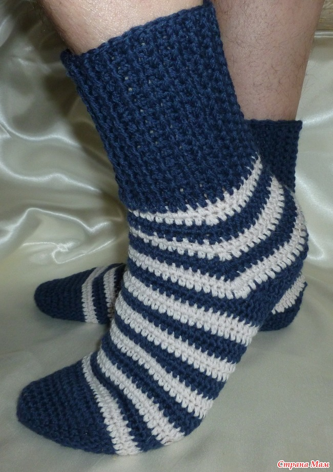 мужские носки крючком мастер класс размер 42 вязание страна мам