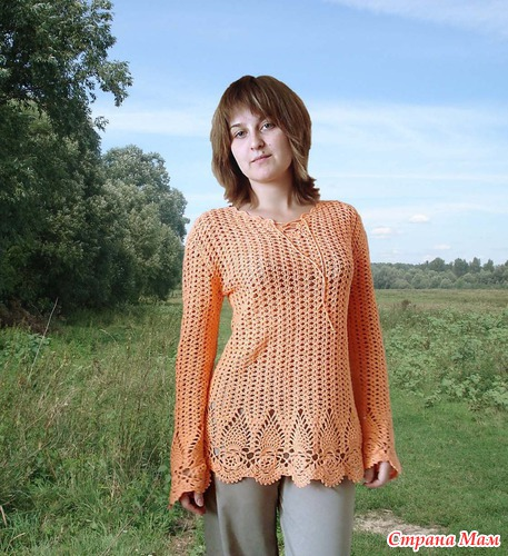 "Оранжевая блуза ананасами ""Тропикана"""