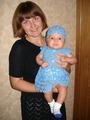 Синее ажурное платье для крошки (3 мес) и шапочка