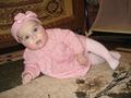 Розовое шерстяное платье, повязка с бантиком