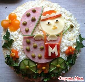 Слоеный торт из скумбрии и крабовых палочек для моих нехочух
