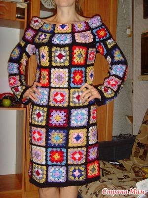 платье из квадратных мотивов вязание страна мам