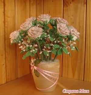 МК букет роз. Из бисера. Ооооочень подробно)))
