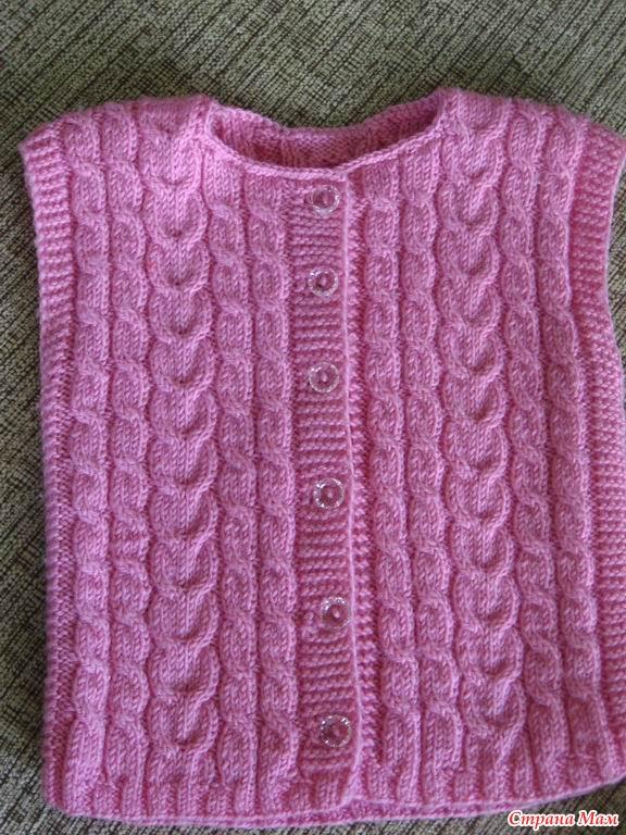 Жилет цвета фуксии | вязание для девочек | вязание спицами и.