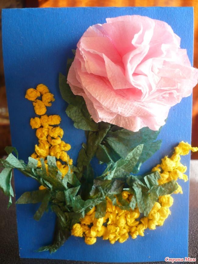 Днем рождения, цветы из салфеток своими руками для открыток