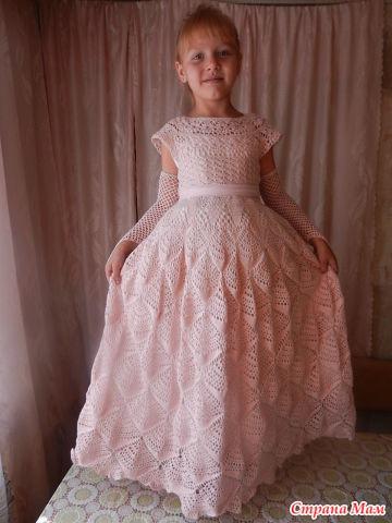 9f0de78d4e12cb9 Продам платье связанное крючком для девочки 7-9 лет для праздников ...
