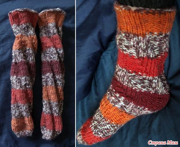 Вязание носков с спиралью 851