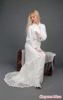 Вязаные свадебные платья ручной работы