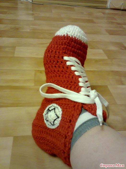 Носки кеды крючком фото