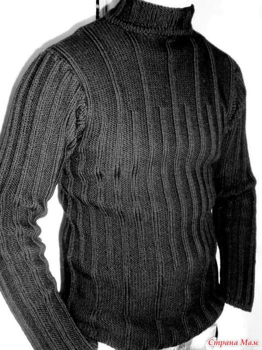 Чёрный пуловер для мужа
