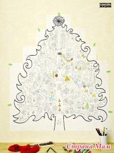 Большая елка раскраска для распечатывания. - Страна Мам