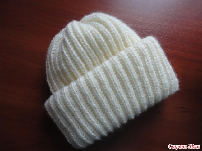 вязание шапок резинкой отворотом