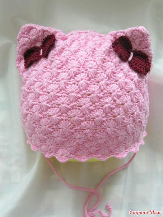 Шапочка-кошка крючком | вязание для девочек | вязание спицами и.