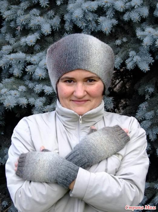 шапка бини и митенки Катерины Жуковой по онлайну Сауле