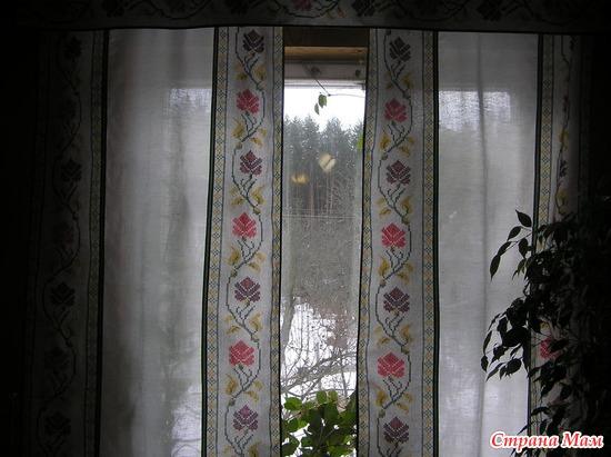 Лоскутные льняные шторы