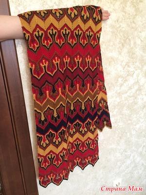 Fox Paws - шарф Лисьи Лапки - многоцветный узор спицами, но это не жаккард!