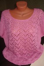 летняя кофточка из хлопка розовый жемчуг вязание страна мам