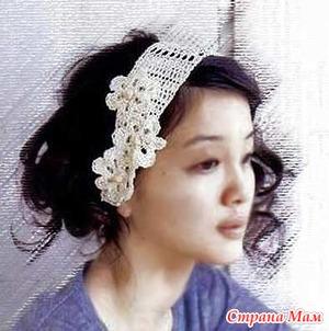 Цветочный Вальс — вязаная повязка на голову