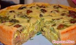 Безумно вкусный пирог с курицей и картофелем!!!