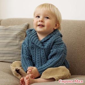 Нарядный пуловер с косами для мальчика, вязаный спицами