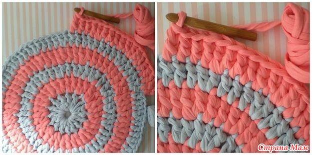 Вязание крючком коврик из тряпок для начинающих 192