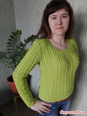 Пуловер косами