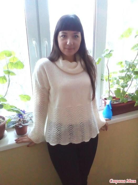 белый свитер из итальянского мохера спицами с описанием вязание