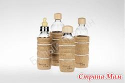 Эко Бутылочки из стекла в пробковом съемном кожухе в комплекте с соской