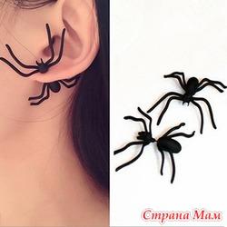 Серьги гвоздики паук