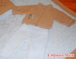 Новый вязаный костюмчик для новорожденного