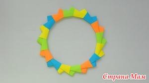 Оригами звезда, венок, кольцо из бумаги Модульное оригами украшение