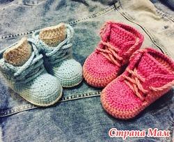 Пинетки-ботинки для малышей вязаные