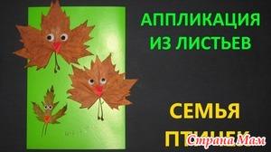 Аппликация из осенних листьев Семья птичек