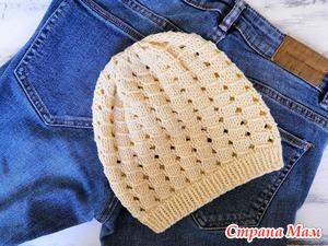 Вяжем спицами летнюю хлопковую шапочку для девочки.