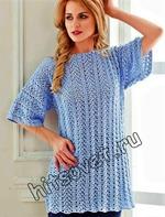 29aea08541ddc7a Вязание крючком для женщин модной туники с ажурными дорожками со схемой и  бесплатным описанием вязания. Вам потребуется: 450 грамм голубой пряжи  Adelia Aura ...