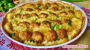Горячее блюдо из фарша и картофеля